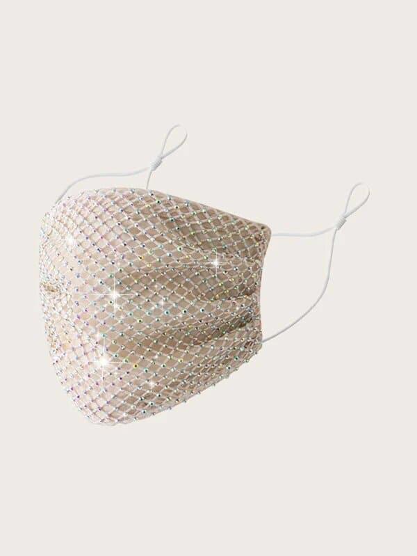 Rhinestone Net overlay Face Mask
