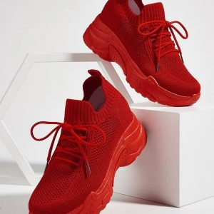 Lace-up Decor Wide Fit Sneakers Red