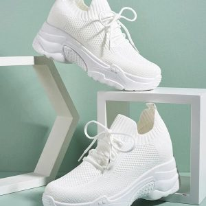 Lace-up-Decor-Wide-Fit-Sneakers-white Product Image